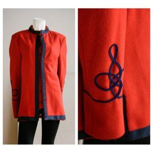 Vintage Libertine Mens Burnt Orange Blue Detail Trim Button up Wool Jacket